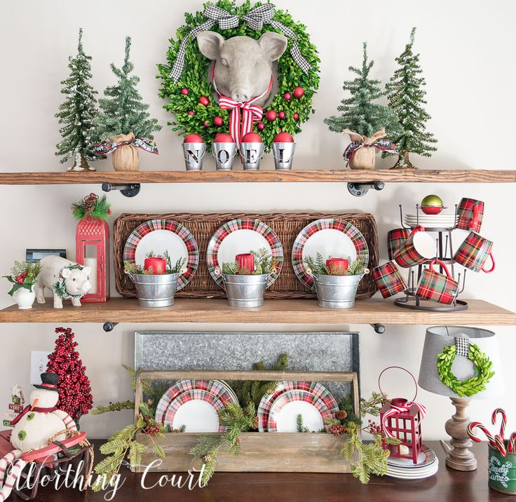 Rustic shelves decorated for Christmas using plaid dishes || Worthing Court