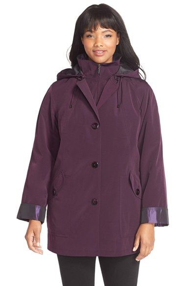 Gallery BibbedSilk Look Raincoat (Plus Size) available at #Nordstrom