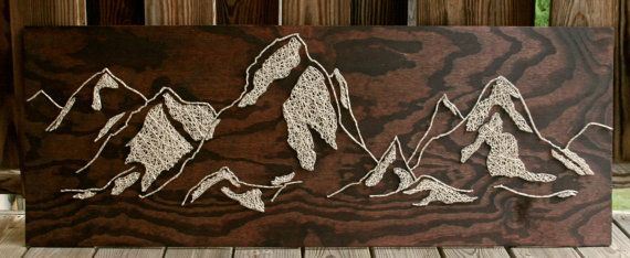 34x12 The Distant Mountains String Art by DistantRealms on Etsy