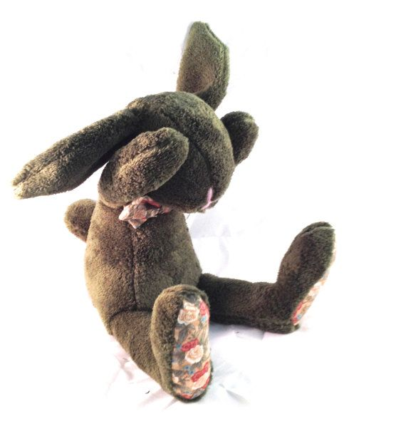 Plush bunny green floral rabbit stuffed  Easter bunny by MySofties, $28.00