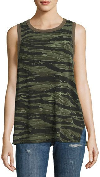 Current/Elliott The Surplus Camo Tank Top, Green Pattern