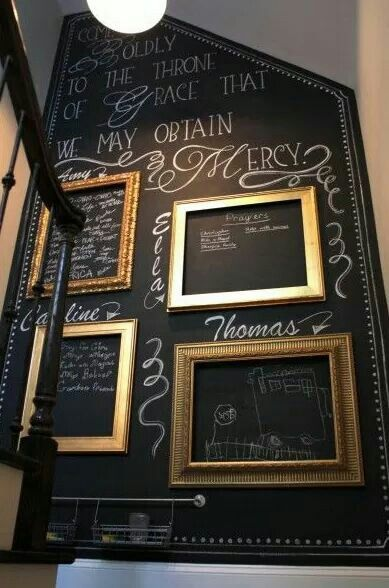 Chalkboard wall for the stair case