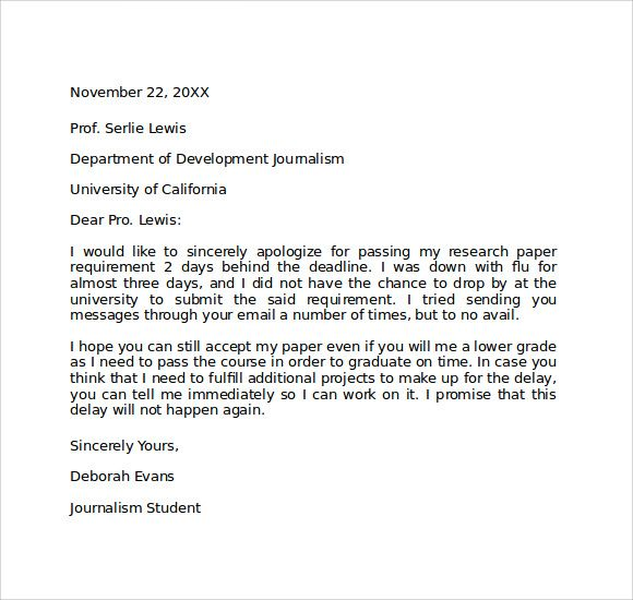 Examples Of Apology Letters Sample Formal Apology Letter