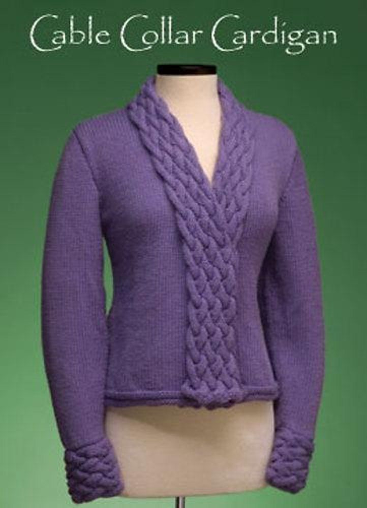 The cable panels in this cardigan are worked at the same time as the fronts. The cables are crossed on WS rows, and the panels are then folded over to the RS. The right front has buttons hidden on the WS that button through the cable crosses on the left front, no buttons or buttonholes will show if you wear the cardigan open. Or if you prefer, use a belt or favorite pin to keep the fronts closed.