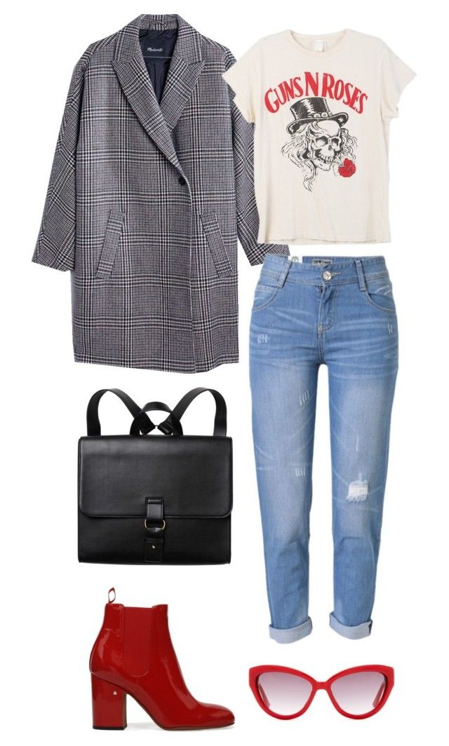 """plaid coat"" by ksasya on Polyvore featuring Madewell, MadeWorn, Monki, WithChic, Moschino, vintage, casual, plaid and coat"