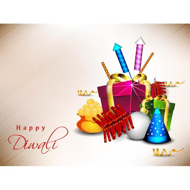 Free Vector of beautiful set of gift on happy Diwali event on grunge background