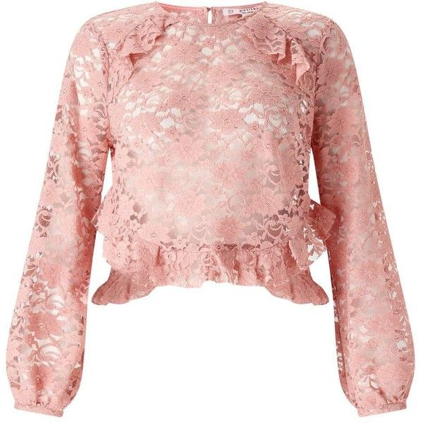 Miss Selfridge PETITE Long Sleeve Lace Blouse ($61) ❤ liked on Polyvore featuring tops, blouses, nude, petite, petite blouses, long sleeve lace top, pink lace blouse, pink lace top and ruffle top