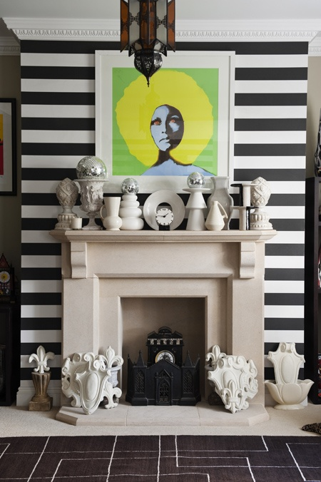 There's nothing about this I don't love: graphic stripes, white ceramics & pop art
