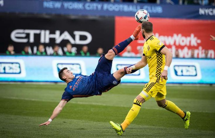 2017 MLS season - December 10, 2018:  BICYCLE KICK -  Jack Harrison of New York City FC tries for a bicycle kick toward the goal during the match against the Columbus Crew on Oct. 22 in New York City. The match ended in a 2-2 draw.