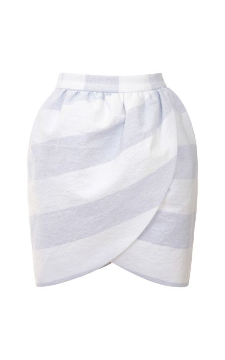 Wide-Striped Mini Wrap Skirt by Harvey Faircloth Now Available on Moda Operandi