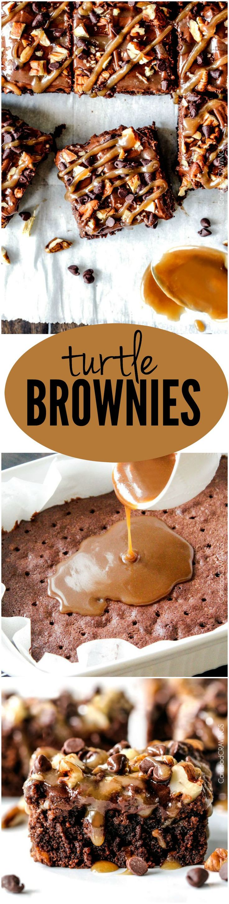 Crazy moist Poke Turtle Brownies seeping with pockets of caramel, infused with pecans and chocolate chips, smothered in the BEST chocolate frosting and topped with more caramel. AKA heaven.