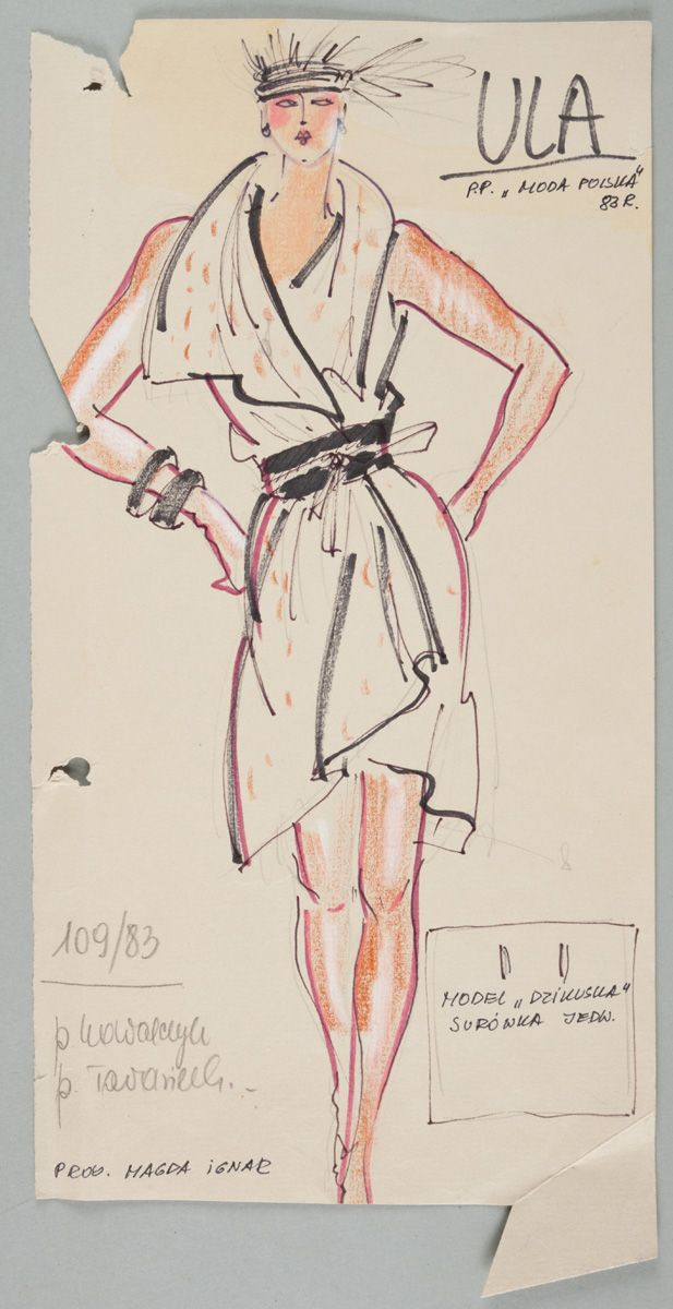Magdalena Ignar, Projekt sukni, 1983 , wł. MNK  #PRL #Moda Polska #Polish Fashion #Magdalena Ignar