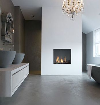 fireplace in bathroom. warmth in winter.