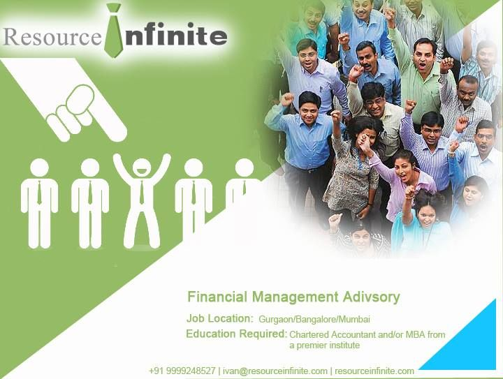 #‎resourceinfinite ‪#‎jobs ‪#‎news A management consulting company is looking for manager in #Gurgaon/#Bangalore/#Mumbai. Do you have the zeal to lead a team in the Financial Management Advisory Services (FMAS) engagements? With that what you need to have is an upper hand in #Finance Process Optimization, Financial Personal Management, #Cost Management. If you are a #CA or an #MBA from a premier institute then visit Resource infinite to know more. For further help contact us @ + 919999248527