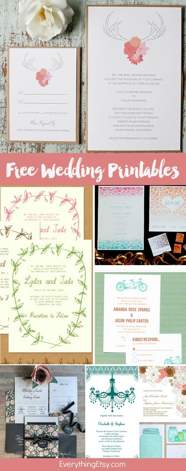 Free Wedding Printablesu2013DIY Invitations 11 best Free