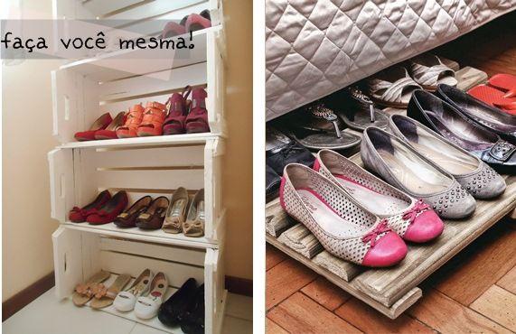 Pallets e caixotes de feira podem ser transformados em úteis sapateiras. :)