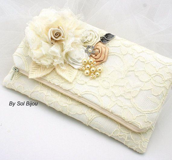 Ivory Lace Clutch Vintage Style White Tan Champagne by SolBijou
