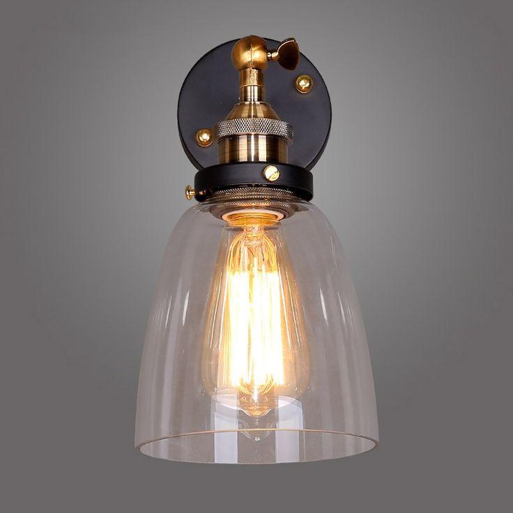 Industrial Clear Glass Shade Metal Base Swing Arm Indoor Wall Lamp   Indoor  Wall Lights