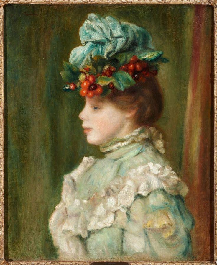 """Пьер Огюст Ренуар. """"Девушка в шляпе с вишнями"""", 1880. Коллекция Дома Альба (Colecciоn Duques de Alba, Palacio de Liria, Madrid)."""