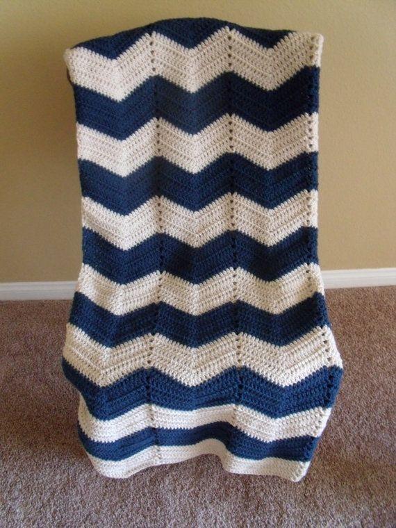 Adult size chevron blue and white crochet by NativeSilverFeather, $60.00
