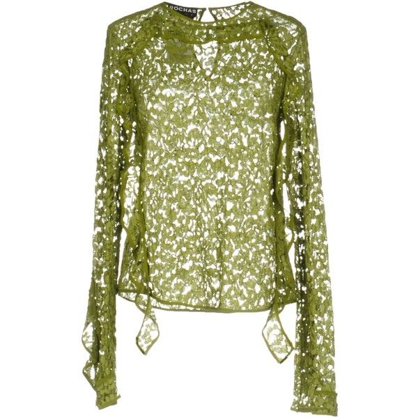 Rochas Blouse (€715) ❤ liked on Polyvore featuring tops, blouses, military green, long sleeve lace blouse, green long sleeve top, long sleeve blouse, green long sleeve blouse and olive top
