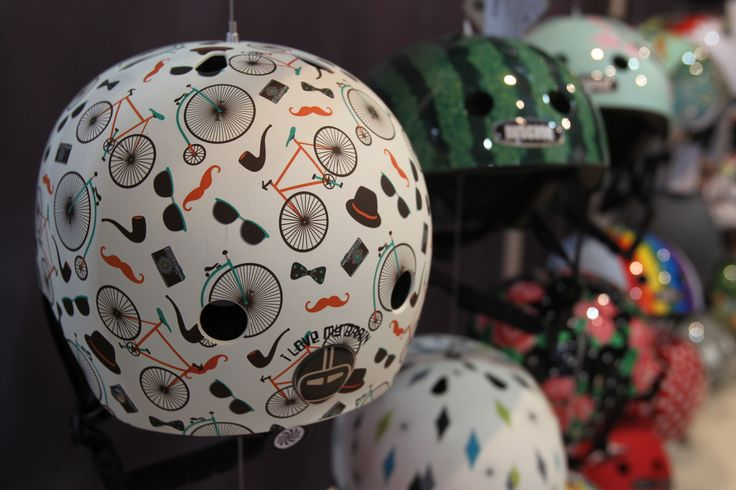 Wide variety of helmets at Eurobike 2015.