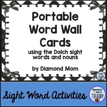 Portable Word Wall CardsThese word wall cards have been created to use on rings so that they can be taken to the desk when needed and then returned. They work well when printed with 4 words to a page if you are using them on a board to share with a small group.