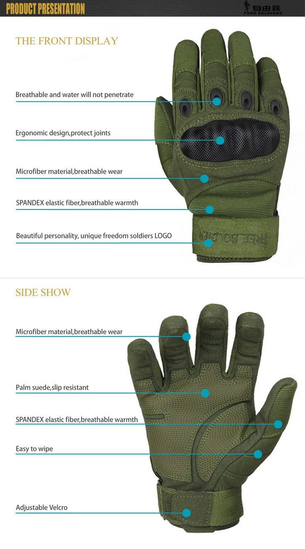 Free Soldier Mens Tactical Gloves Hard Knuckle Full Finger Military Gear (Large, Black)