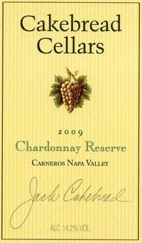 Cakebread Cellars 2009 Chardonnay Reserve, Carneros, Napa Valley