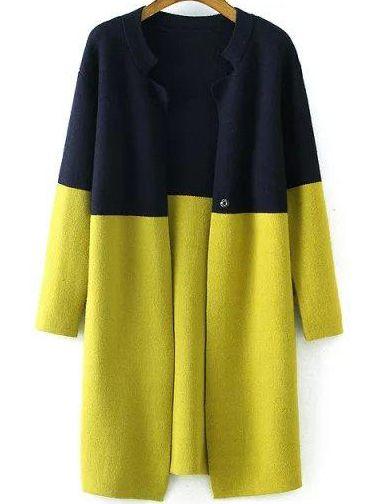 Navy Yellow Long Sleeve Loose Knit Cardigan