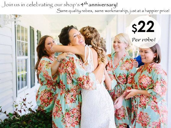 Bridesmaids Robe Sets  Kimono Crossover Robes by SunsetToSunrise