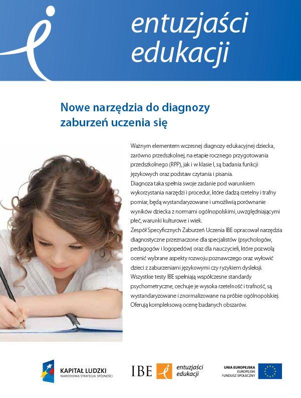 Nowe narzędzia do diagnozy zaburzeń uczenia się - broszura