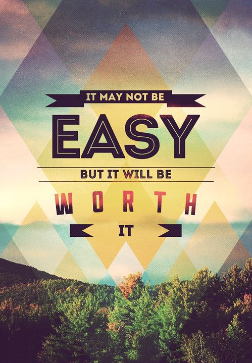 """""""It may not be easy but it will be worth it"""" inspirational poster design"""