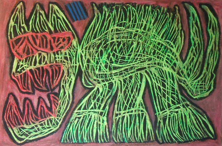 """""""Felino mutante"""" 2014 Tecnica mista su cartoncino 38x58 ©Pietro Gargano"""