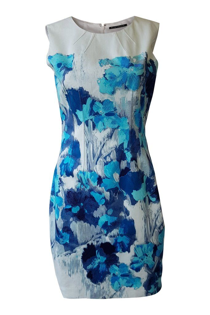 ELIE TAHARI Floral Print Sleeveless Shift Dress (UK 8)