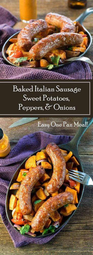 Baked Italian Sausage with Sweet Potatoes, Peppers, and Onions recipe via @foxvalleyfoodie