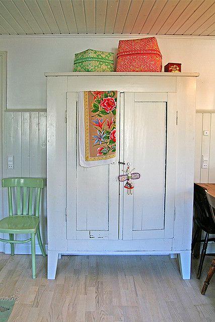 Vintage cupboard- My white vintage larder cupboard and Balinese boxes.