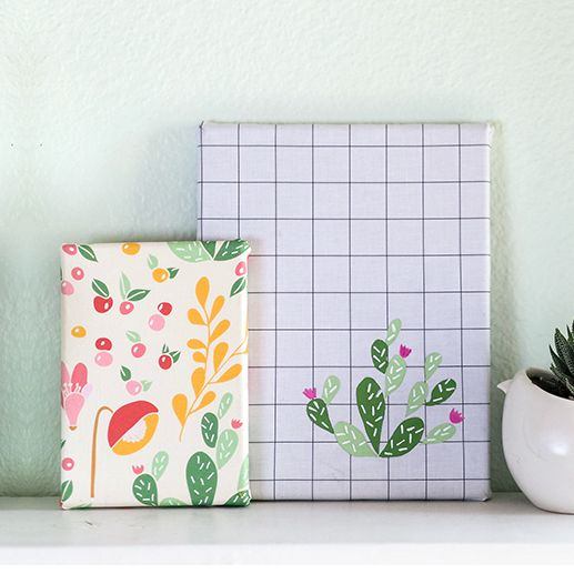 Use any fabric at all to create a set of statement pieces for your wall, like this cactus DIY fabric canvas art. It's easy, fun, and totally customizable!