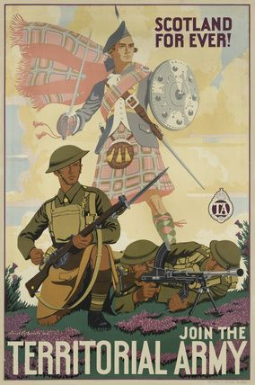 Scotland For Ever! Join the Territorial Army', 1938.  Recruiting poster, after Lance Cattermole, 1938.  Scottish Territorial Bren gun team in action with apparition of a Highlander with claymore and targe behind them.  The original printed by Greycaine Limited, Watford, 1938.