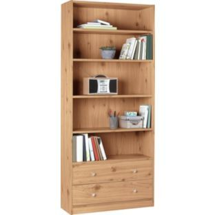 Maine Extra Deep Bookcase With 2 Drawers Pine Effect At Argos Co