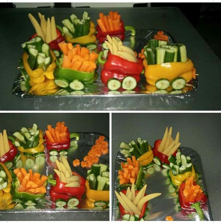 veggie train - saw pics of one that was set on toy train tracks. Would be cute for Christmas, with a fruit tree (like the one I've pinned) in the center.