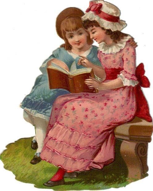 Larger Victorian Die Cut Scrap Girls Read Book in Garden c1880: