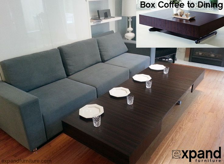 The box coffee to dining table in its largest form in coffee mode. As you can see it has massive extension ability allowing you have plenty of serving area as a coffee table or dining table. Huge space creation. http://expandfurniture.com #spacesaver