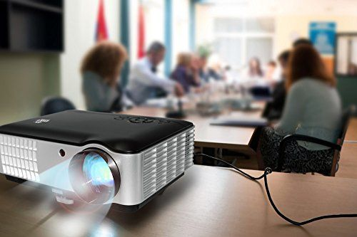 in the picture:PYLE Full HD 1080p Video & Cinema Home Theater Projector – Built-in Stereo Speaker, LCD + LED Lamp, Keystone Adjust, Digital Multimedia, 2xHDMI, 2xUSB & VGA Inputs for TV PC Game Business Computer & Laptop lots of color options – get more i...