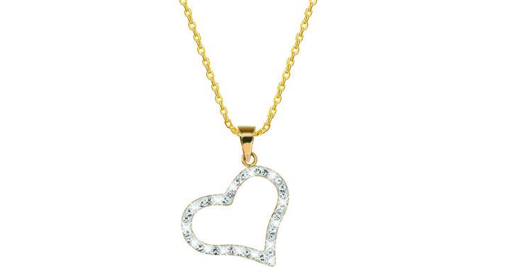 Shine bright like a diamond! Om meteen op je wishlist te zetten voor Valentijnsdag, deze mooie 14-karaats gouden ketting met hartvormige hanger�met kristallen. Elegant, lief en �norm stylish. Maar de kans dat je lover hem je�op 14 februari zal�geven ��