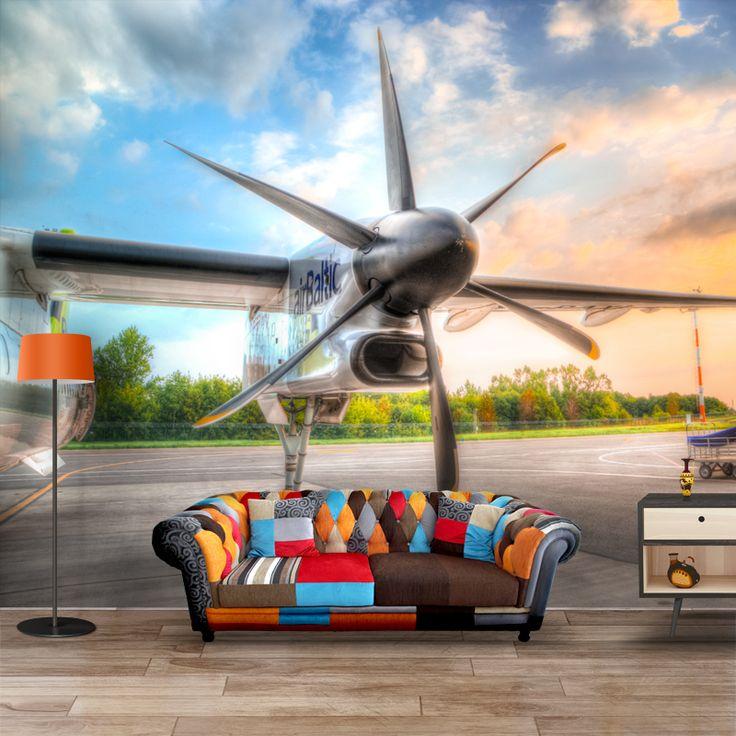 Fotobehang Zonsopgang op het vliegveld | Maak het jezelf eenvoudig en bestel fotobehang voorzien van een lijmlaag bij YouPri om zo gemakkelijk jouw woonruimte een nieuwe stijl te geven. Voor het behangen heb je alleen water nodig!   #behang #fotobehang #print #opdruk #afbeelding #diy #behangen #zonsopgang #vliegveld #ochtend #vliegtuig #propellers #voertuig #vliegen