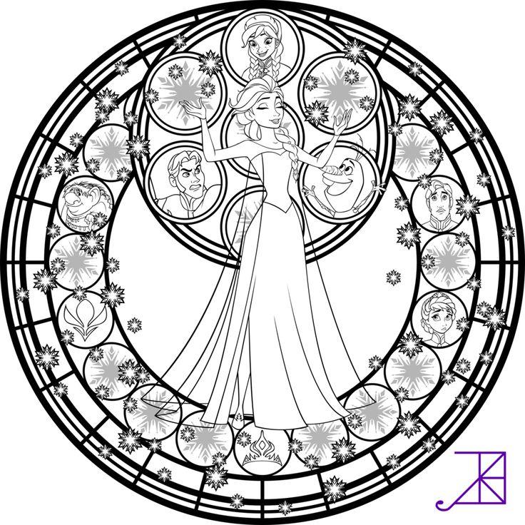 Elsa Stained Glass Line Art by Akili-Amethyst.deviantart.com on @deviantART