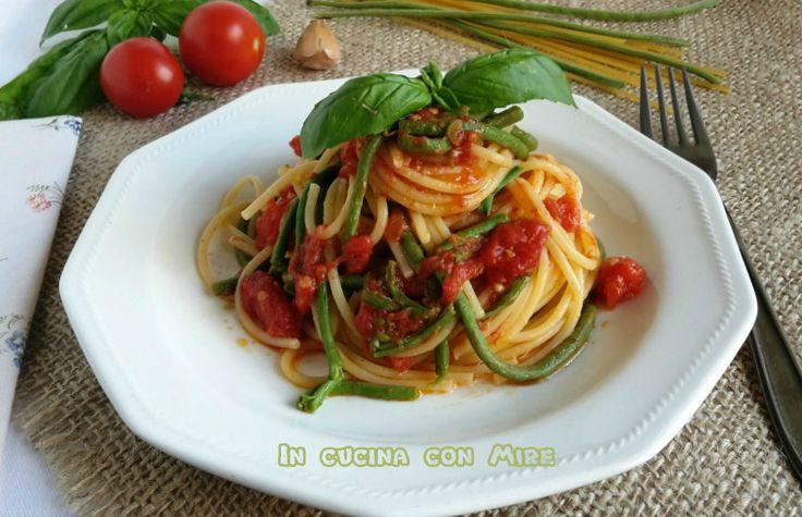 Fagiolini+a+metro+con+gli+spaghetti