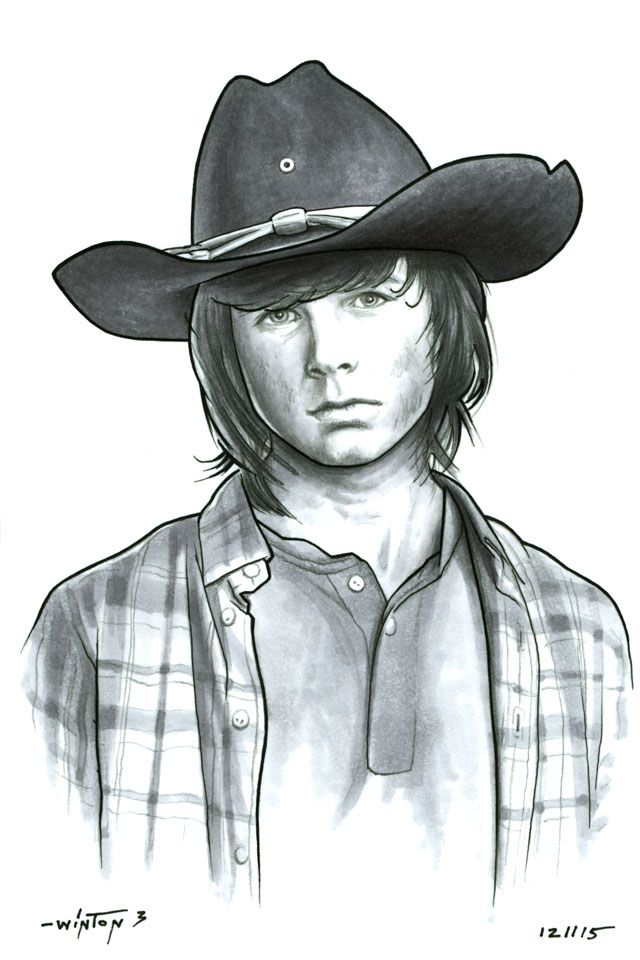 Carl Grimes - The Walking Dead (2010) Lil' Chandler Riggs is growing up right before our eyes. Surviving on the run clearly makes one grow up real fast. 4x6. Pen, pencil, and marker. SOLD