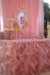 Pink & Gold Party Backdrop with Tutu skirt - Simply Elegant Event